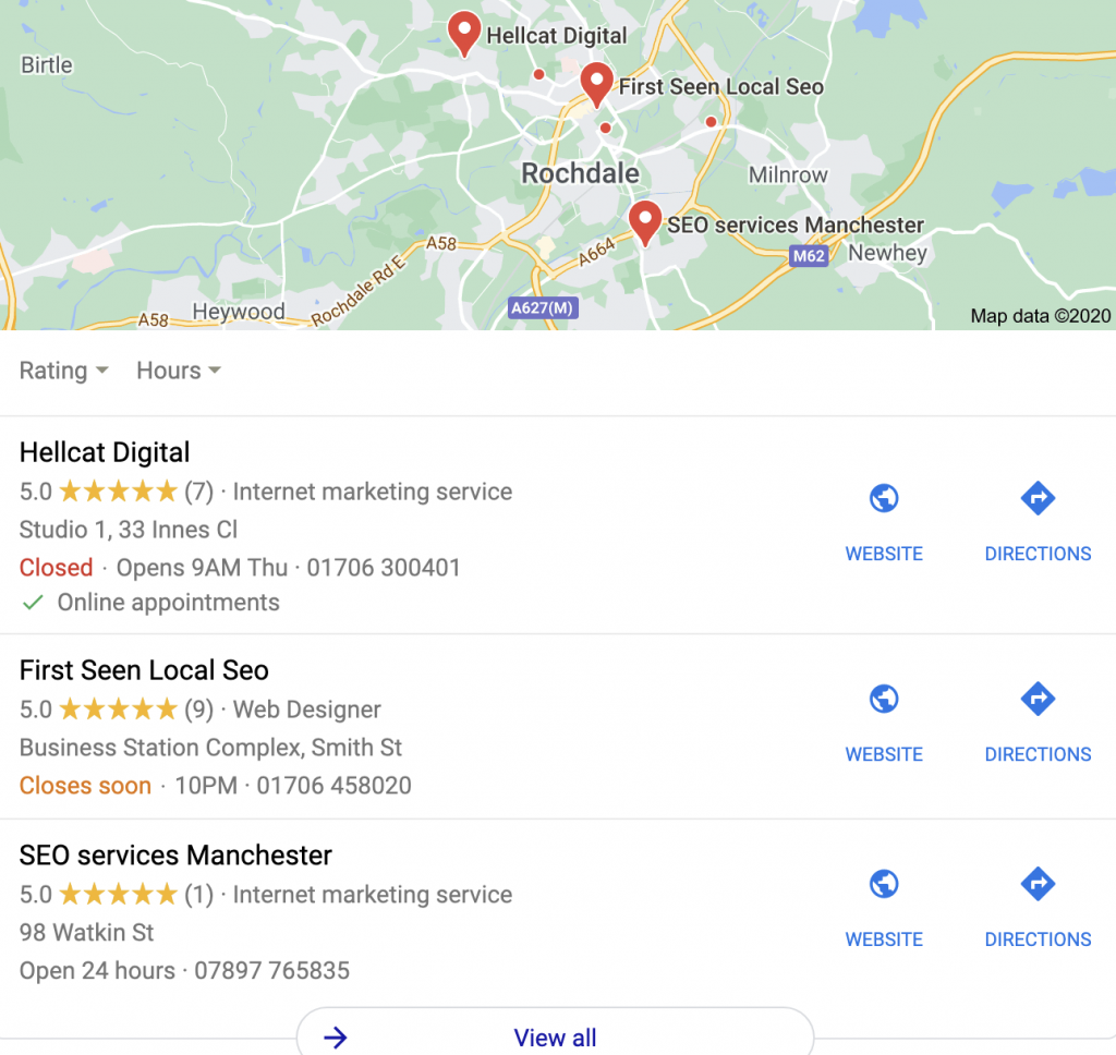 Hellcat Digital specialise in building a local presence using the map listings