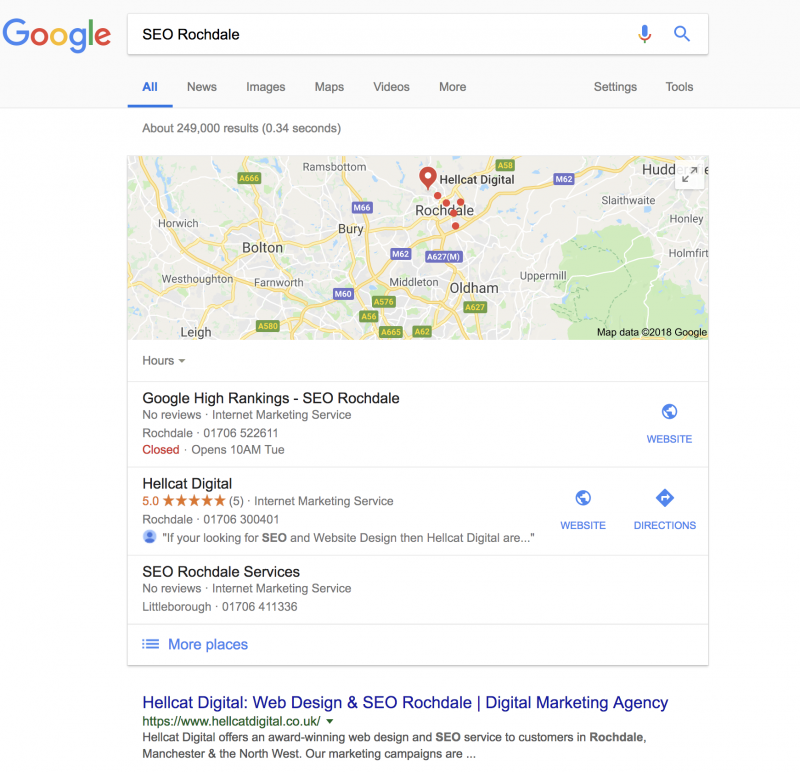 Hellcat Digital provide an award winning SEO service to customers in Rochdale and the UK